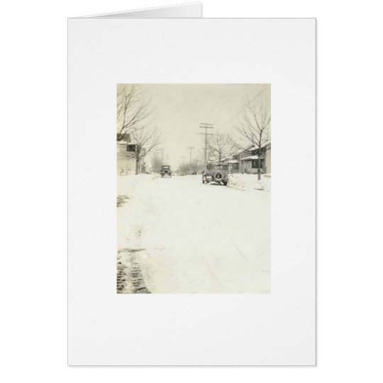 car in snow holiday card