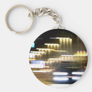 Car in street in lights urban City with distortion Keychains