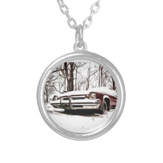 car in the snow silver plated necklace