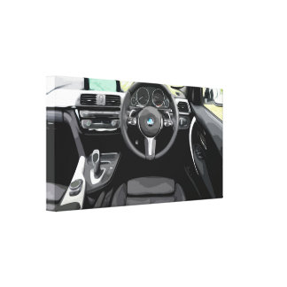 Car Interior from Drivers Seat on Right Side Canvas Print