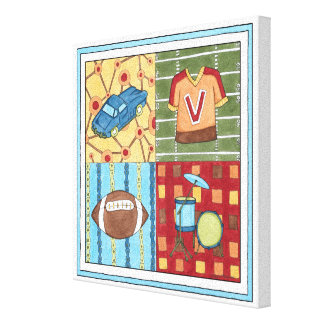 Car, Jersey, Football and Drum Kit Canvas Print