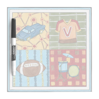 Car, Jersey, Football and Drum Kit Dry Erase Board