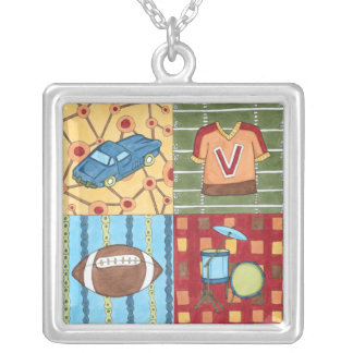 Car, Jersey, Football and Drum Kit Silver Plated Necklace