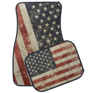 Car Mats Full Set print with grange flag of USA