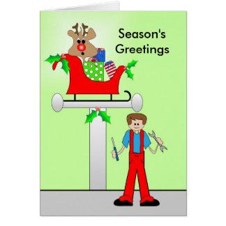 Car Mechanic Christmas Design Card