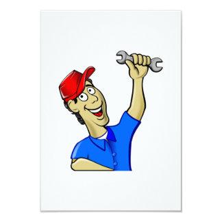 Car Mechanic Holding a Wrench 9 Cm X 13 Cm Invitation Card
