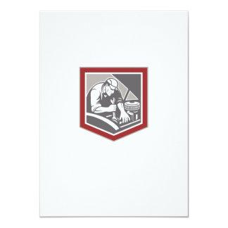 Car Mechanic Repair Automobile Shield Retro 11 Cm X 16 Cm Invitation Card