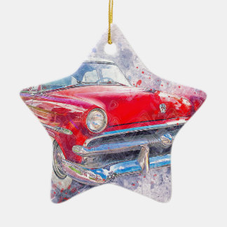 Car Old Car Abstract Watercolor Vintage Classic Christmas Ornament