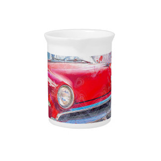 Car Old Car Abstract Watercolor Vintage Classic Pitcher
