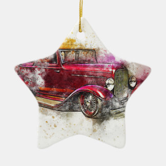 Car Old Car Art Abstract Watercolor Vintage Christmas Ornament