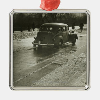 Car on road christmas ornament