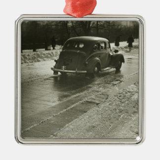 Car on road Silver-Colored square decoration