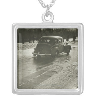 Car on road silver plated necklace