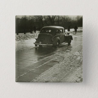 Car on the Road 15 Cm Square Badge