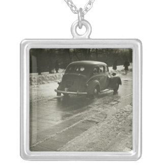 Car on the Road Silver Plated Necklace
