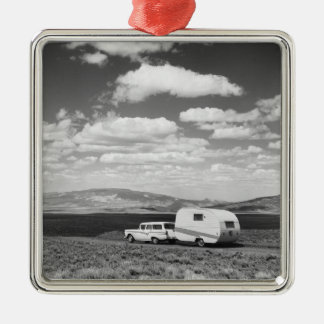 Car pulling trailer on road Silver-Colored square decoration