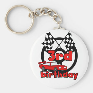 Car Racing 3rd Birthday Tshirts and Gifts Basic Round Button Key Ring