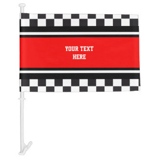Car Racing / Chess Pattern + your backgr. & ideas Car Flag