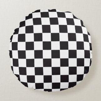 Car Racing / Chess Pattern + your backgr. & text Round Cushion