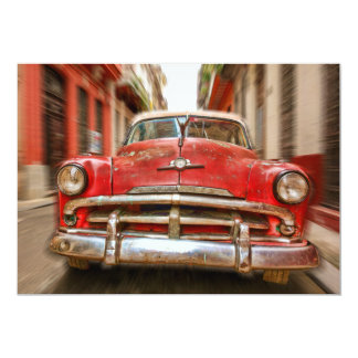 Car racing in the streets of old Havana, Cuba 13 Cm X 18 Cm Invitation Card