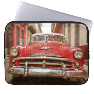 Car racing in the streets of old Havana, Cuba Laptop Sleeve