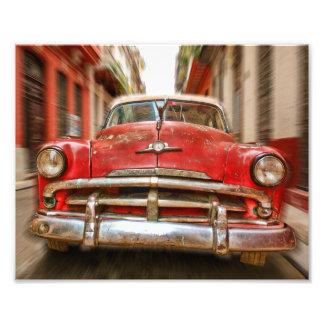 Car racing in the streets of old Havana, Cuba Photo Print