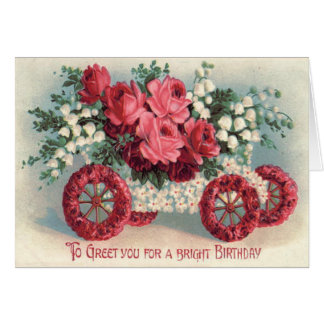 Car Red Rose Lily of The Valley Forget-Me-Not Card