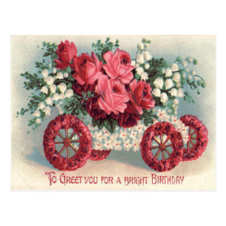 Car Red Rose Lily of The Valley Forget-Me-Not Postcard
