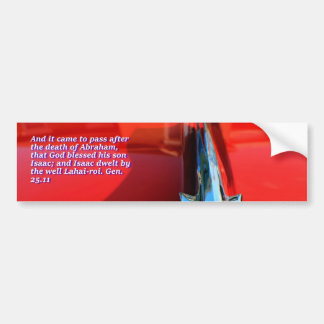 Car reflection with text bumper sticker