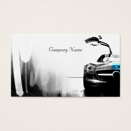 Car Related White And Black Coloured Business Card