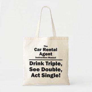 car rental agent tote bag