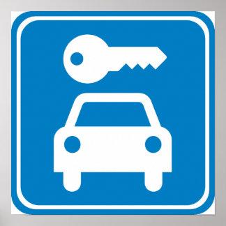Car Rental Highway Sign Print