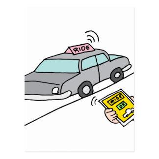 Car ride app service postcard