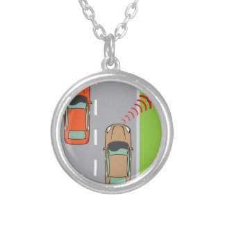 Car scans speed limit sign silver plated necklace
