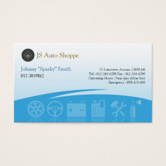 Car Service Icons Cyan Business Card