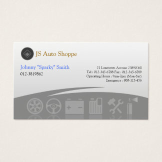 Car Service Icons Grey Business Card