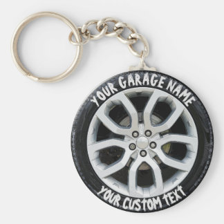 Car Service Repair Garage Owner Tire Wheel Custom Basic Round Button Key Ring