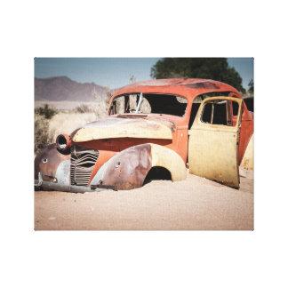Car Skeleton in the desert Canvas