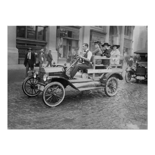 Car Strike Hitchhikers, early 1900s Print