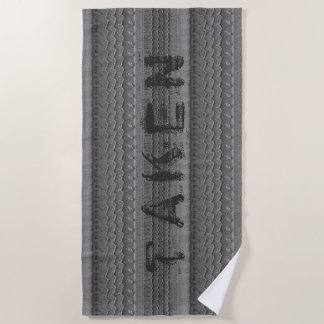 Car Tire Tracks on Grey Sandy Beach Custom Text Beach Towel