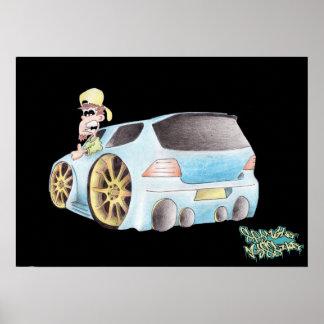 CAR TOON GOLF print/poster Poster