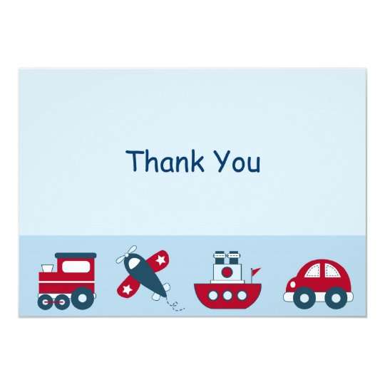 Car Train Aeroplane Boat Thank You Note Cards