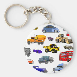 car truck firetruck bulldozer bus race cars more basic round button key ring