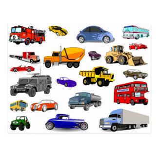 car truck firetruck bulldozer bus race cars more postcard