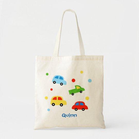 Car Truck Personalised kid name canvas bag