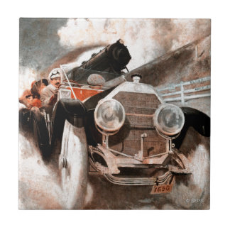 Car vs Train by William Harnden Foster Small Square Tile