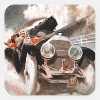 Car vs Train by William Harnden Foster Square Sticker