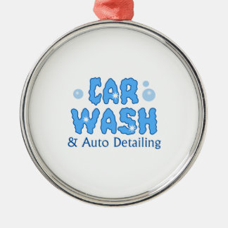 CAR WASH AUTO DETAILING Silver-Colored ROUND DECORATION