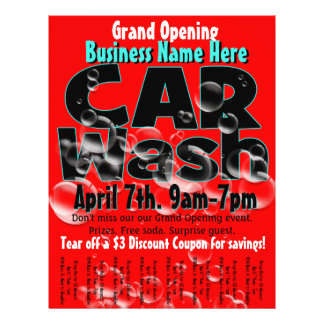 Car Wash. Carwash. Customizable advertising flyer