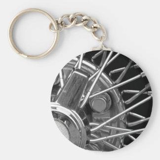 Car wheel basic round button key ring